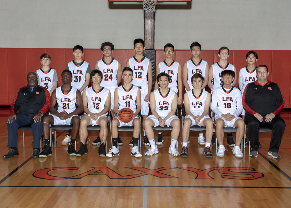 JV boys basketball team portrait